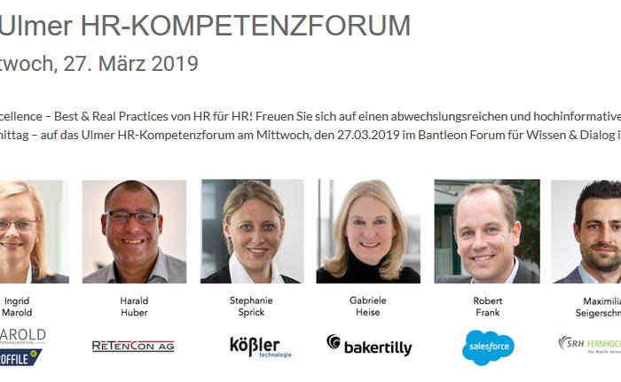 Huber, Robert Frank, Stefanie Sprick, Maximilian Seigerschmidt, Gabriele Heise, Speaker des HR-Kompetenzforums im März 2019